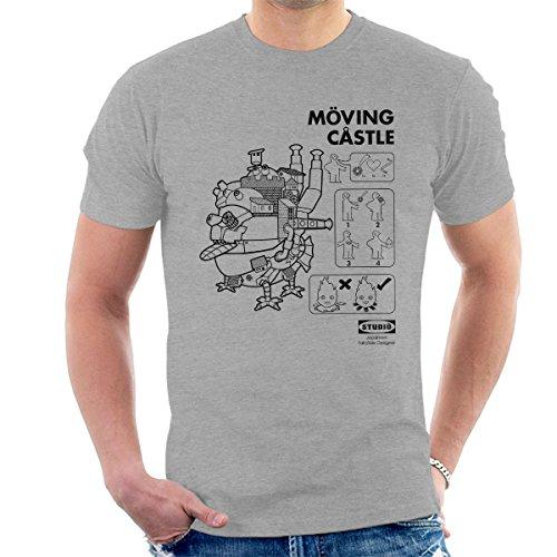 Howls Moving Castle Outlined Men's T-Shirt Heather Grey