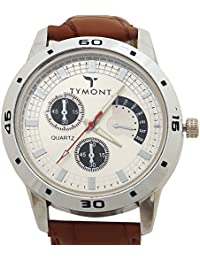 TYMONT Sports/Casual Analog White DIal With Brown Leather Belt For Men's/Boys