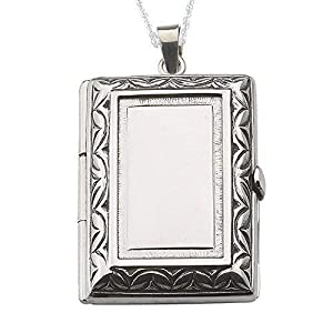 Alylosilver Silber Rechteckig Medaillon Zum Öffnen Für Zwei Bilder Für Frauen mit Mit Bordüre In Gealtertem Finish – Beinhaltet eine 45 Zentimeter Lange Silber Kette und eine Geschenk Box.