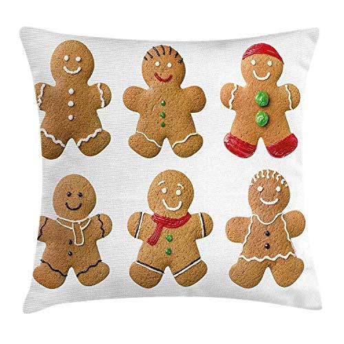 (MedieMo Lebkuchenmann Überwurf-Kissenbezug, lebendig, hausgemachte Kekse, Zuckerguss, süßes leckeres Gebäck, dekorative quadratische Akzent-Kissenbezug, 45,7 x 45,7 cm, Hellbraun Rot Grün)