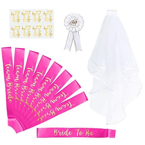 Naler 12-teilig JGA Set Pink Gruppenset mit Schärpen Schleier Bottons Temporäre Tattoos für Junggesellinnenabschied Hen Party