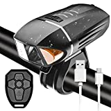 LTPAG Luces de Bicicleta Delantera, Inteligentes Alarma Anti-Robo 800 Lumens Luz Delantera con Mando a Distancia inalámbrico IP68 Impermeable 4 Modos Super Brillante de Lampara Frontal USB Recargable