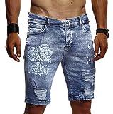 ... Biker Jogger Jeans Hose Shorts Jeanshose Chinos Cargo Bermuda Basic  5-Pocket Destroyed Used Stretch Freizeithose Denim Slim Fit LN1970  W30   Dunkel Blau e227b04778