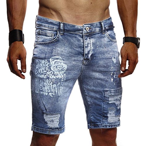 Leif Nelson Herren Männer Jungen Sommer Kurze Biker Jogger Jeans Hose Shorts Jeanshose Chinos Cargo Bermuda Basic 5-Pocket Destroyed Used Stretch Freizeithose Denim Slim Fit LN1970; W30; Dunkel Blau