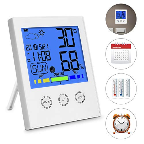 Digital Funk Wetterstation mit Großes LCD-Display +Wecker,Thermo-Hygrometer,(Temperatur, Luftfeuchtigkeit Monitor, Wetter, Uhrzeit, Datum, Wochentag und Komfortanzeige ℃/℉ Schalter)