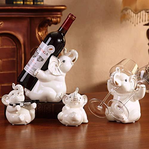 JIU Estante de cerámica para vinos Creativo Europeo 4 Piezas Conjunto Adornos...