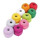 Fil de crochet - Lot de 10 Fil en Coton - Assortiment de Couleurs Coton pour Crochet - Fil à Coton pour Projets et Appliqués (10 Grammes/85 Mètres)...