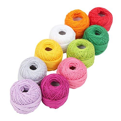 Confezione 10 filati cotone uncinetto da kurtzy- motivo liscio in assortimento di colori - per progetti, applique - 10 grammi - 85 metri di filo - materiale di alta qualità