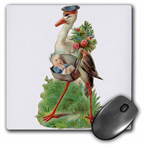 Dooni Designs Vintage Designs - Vintage Stork Delivery Baby Boy Bird Illustration - MousePad (mp_104672_1)