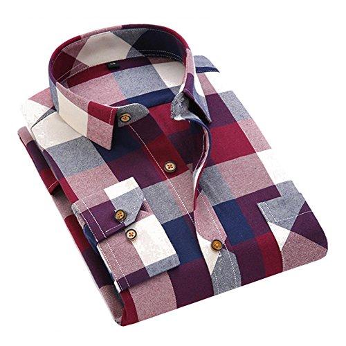 Juleya Herren 5 Farben Plaid Flanellhemd Casual Langarm Plaid Button-Down-Shirts mit Fronttasche Classic Check Print Baumwollhemd (Plaid Shirt Fit Classic)