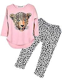 Baiomawzh Roap Bebe Niña otoño-2Pc/Conjuntos Camisas Mangas Largas Camisetas Tops Algodón Blusa Bordados de Dibujos Animados Camisola T-Shirt+Pantalones de Leopardo Trajes para Chicas 2-12 Años