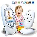 HMILYDYK Kabelloser Baby-Monitor 6,3 cm (6,4 Zoll) Farb-LCD-Bildschirm Kamera mit automatischer Nachtsicht, Zwei-Wege-Gespräch, Temperatur-Überwachung und langer Übertragungsbereich für Babys Sicherheit