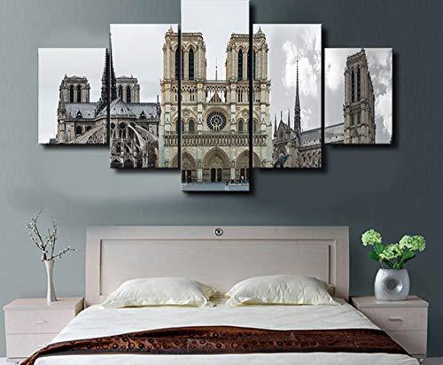 ZUEN Wandkünstler Dekorative Tusche Gemälde Leinwand Wandmalerei Fünf aufeinanderfolgende Gemälde Notre Dame De Paris Muster,B