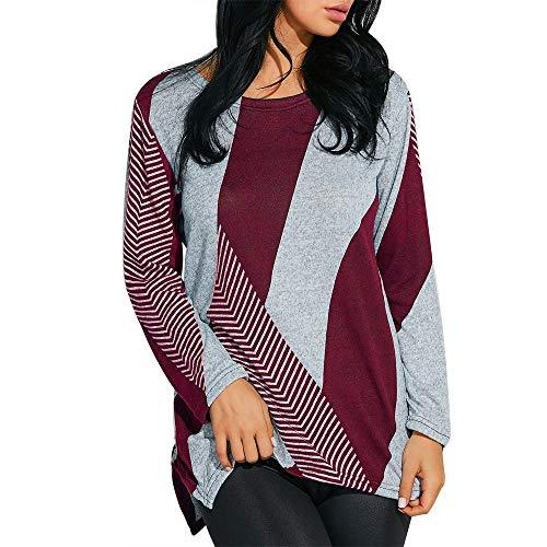 Dorical Sweatshirt Jacken Damen Herbst Winter Warm Lang Pullover Patchwork Diagonal Gestreiftes T-Shirt für Frau Hochwertige Mantel Stylische Pullover Günstige Kaufen Online Shop Promo