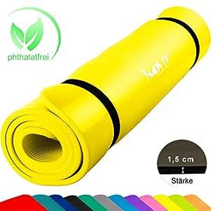 MOVIT XXL Pilates Gymnastikmatte, Yogamatte, phthalatfrei, SGS Geprüft, 190 x 60 x 1,5cm, Gelb