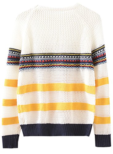 Futurino Femme Striped Hollow Oversize Tricot Sweater Pull white
