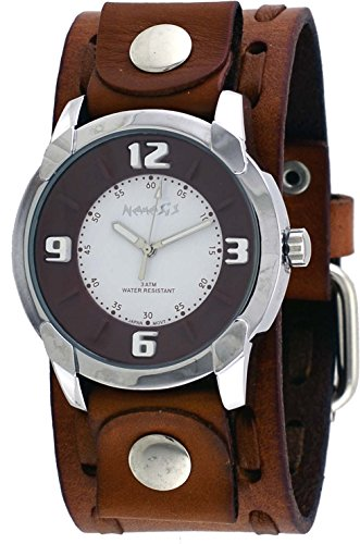 Nemesis #NBDB106B Men's Embossed 3-D Raised Index Brown Wide Leather Cuff Band Watch