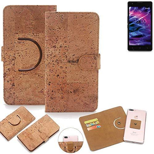 K-S-Trade Schutz Hülle für Medion Life E5020 Handyhülle Kork Handy Tasche Korkhülle Schutzhülle Handytasche Wallet Case Walletcase Flip Cover Smartphone