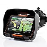 Excelvan - Navegador GPS Para Coche y Motos (Pantalla TFT 4.3'', Windows CE 6.0, Impermeable IPX7, Bluetooth, 8Gb, Mapas Gratuitos para Descargar, Navegación con Voz, Idiomas Compatibles) (Naranja)