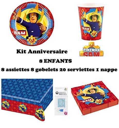 Kit Sam Le Pompier 8 Enfants Complet Anniversaire (8 Assiettes, 8 gobelets, 20 Serviettes, 1 Nappe + 10 Bougies Magiques offertes) fête Nouveauté 2019