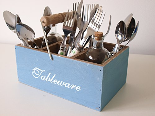 Cutlery Holder - Retro Style Blue Wooden Utensil Holder - Knives, Forks & Spoons. Cutlery Stand Utensil Condiment Holder Box with Handle