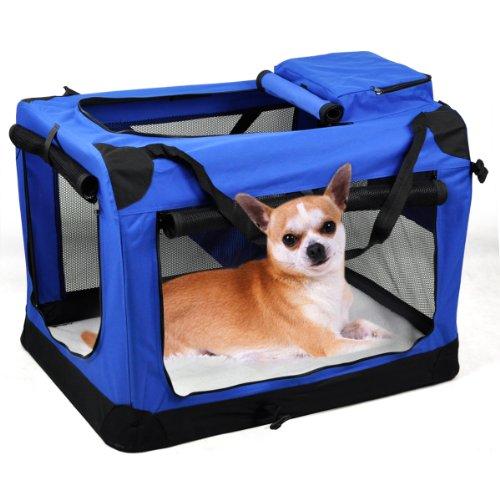 hundeinfo24.de ???Hundebox Faltbare Katzenbox Viele Farben Viele Größe Transportbox Hundetransportbox Autokorb Popamazing??? (XL, Blau)