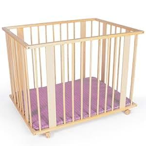 TecTake Parc pour bébés/enfants 100x75 cm avec 3 positions+sol matelassé Tour de parc bebe bois