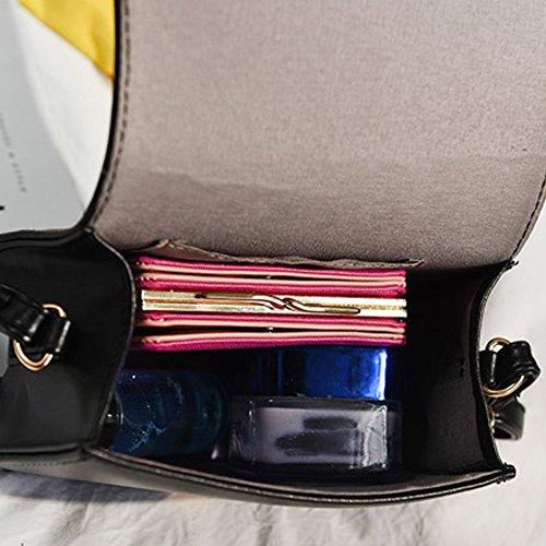 Familizo Sacchetti di spalla del messaggero delle donne Sacchetti di spalla del fiore del ricamo Borsa Borse piccole del corpo Nero