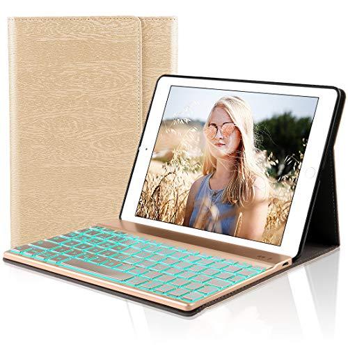 D DINGRICH Tastatur Hülle für iPad 2018 (6th Gen) - iPad 2017 (5th Gen) - iPad Pro 9.7 - iPad Air 2 & 1-7 Farben Hinterleuchtet- QWERTZ Tastatur- Magnetischen Schlaf/Wach- ipad 9.7 Tastatur Hülle...