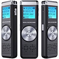 Digital Voice Recorder,TENSAFEE 8G Dictaphone Sound Recorder,Portable Rechargeable HD Audio Recorder with Double Microphone Clear recording ,MP3 Player/A-B Repeat/One Touch Recording,Voice Recorders for Lectures/Meetings/Interviews/Class