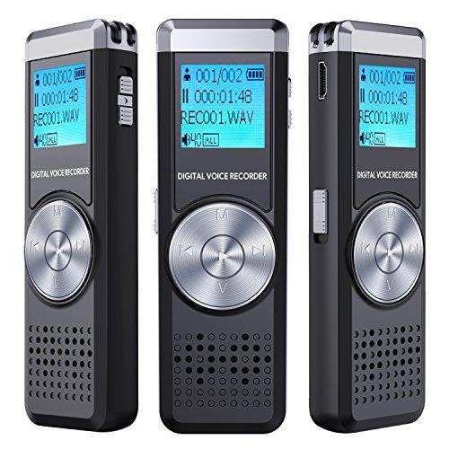 Digitales Diktiergerät,TENSAFEE 8 GB Diktierapparat Tonaufnahmegerät,HD Audio Recorder,MP3-Player / A-B-Wiederholung / One-Touch-Aufnahme,Sprachrekorder für Vorträge / Meetings / Interviews / Unterricht.
