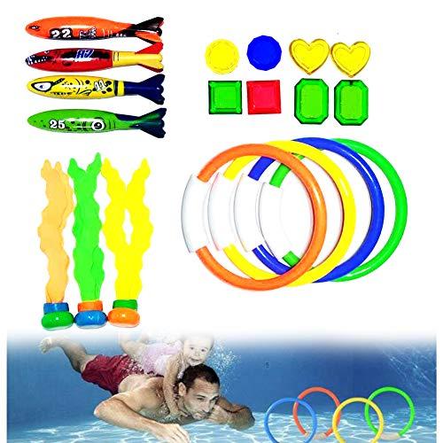 Romote 19PCS Unterwasser-Schwimmen Spielzeug Tauchen Wasserspielzeug Unterwassertraining Spielen Water Toypedo Toy Pirate Treasures Suche Spiel Für Kind-Kind