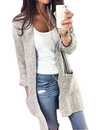 Minetom Damen Mode Langarm Große Taschen Lange Strickjacke Cardigan Beiläufige Lose Knit Mäntel Pullover Kimono Tops Oberbekleidung Grau...