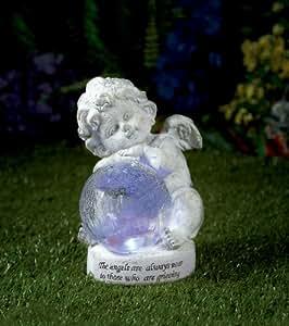 Premier BS122134 Figurine ange avec lumière dans boule de verre aspect verre brisé 27 cm