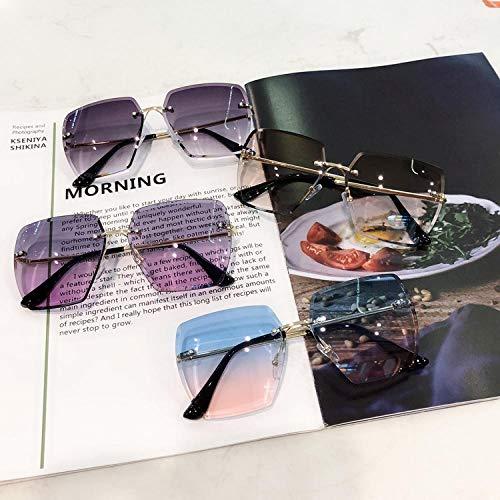 Sonnenbrille weibliche Flut rahmenlose quadratische Trimmen Sonnenbrille Mode Polygon rundes Gesicht war dünn Anti-UV-Sonnenbrille-3