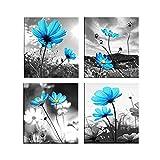 non-brand Sharplace 4 Paneles Cuadro Pinturas de Paisaje Colgar en Pared Decoración para Hogar Casa - Flor Azul