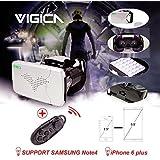 VIGICA RIEM III 3D VR Gafas Headset Google Cardboard para 3.5-6.0 Pulgadas iPhone with Bluetooth Controlador,Samsung Note, LG Nexus,Android Smartphones Silver