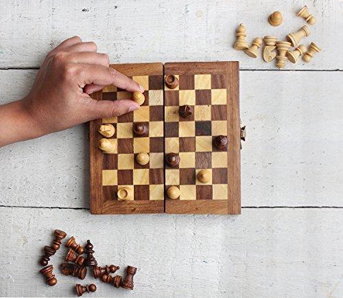 Conjunto de ajedrez de madera plegable caja de ajedrez tablero de juego fresco con almacenamiento de piezas portátiles de viaje amistoso para niños adultos