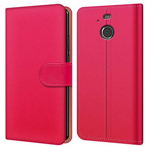 Conie Hülle für HTC 10 Evo Tasche Bookstyle Pink, PU Leder Hülle Pink, Handyhülle 10 Evo Flip Case Wallet, Booklet Cover Brieftasche Etui Schutzhülle mit Kartenfächer, für HTC 10 Evo (5.5