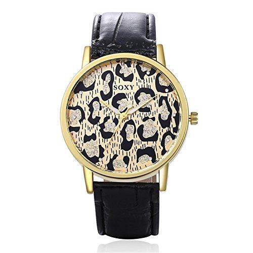 YDS® Asiatische weibliche Spiralkrone kreative Leopard Zifferblatt Ledergürtel Quarzuhr , black (Männliche Leopard)