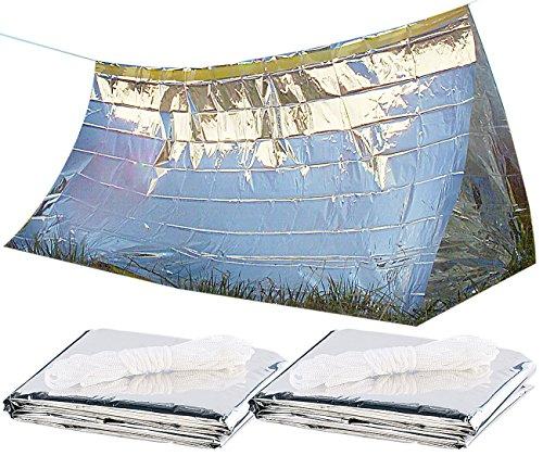 Semptec Urban Survival Technology Notfall-Zelt-Decke: 2er-Set Notfall-Zelte für 2 Personen, hitzeabweisend, kältedämmend (Outdoor-Zelt)