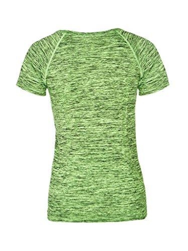 Blooming Jelly Frau Kurzarm Yoga Sport T-Shirt T-Stück Grün #1