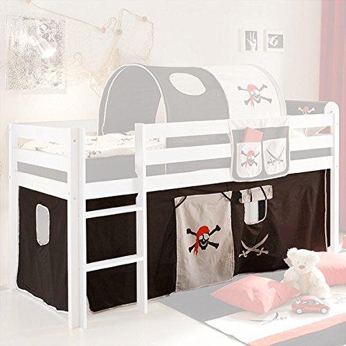 Vorhang Pirat Seeräuber 3-tlg 100% Baumwolle inkl Klettband Stoffvorhang Spielvorhang für Hochbett Bett Spielbett Stockbett Kinderbett Gardine (Hochbett Bett)