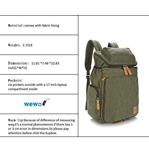 Nine Stars multi-function Durable Stylish Canvas Backpack School Bag hummelladen Borsa per Pc portatile sterline ¨15,6 Inch £©, Verde (Multicolore) - B1123 Verde