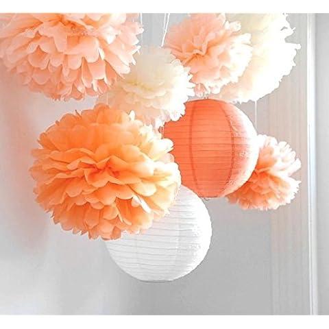 SUNBEAUTY Estilo naranja 8 piezas Pom Pom flor de papel & Farol decoración colgando para boda cumpleaños Santa semana fiesta Baby shower