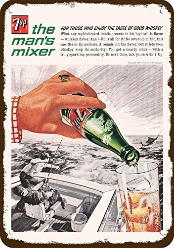 Laptopo 1964 7UP SODA Vintage Look Replica Metal Sign - Men DEEP SEA Fishing Marlin Fish (Soda 7up)