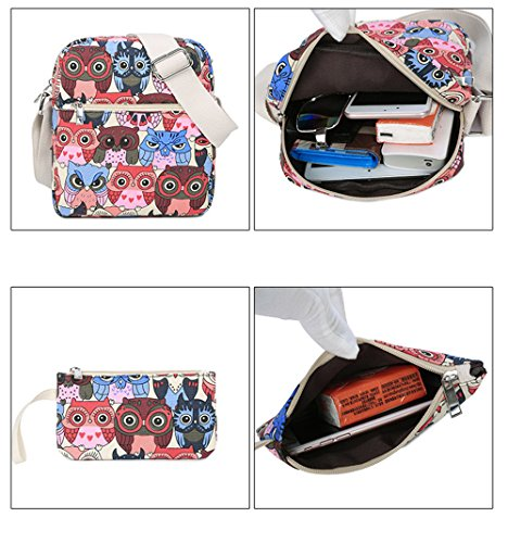 Emoji Gedruckter Beiläufiger Segeltuch Rucksack Schultasche Laptop Tasche Rucksack für Jugendlich Junge Mädchen Red Owl Set