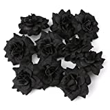 Künstliche Blumen, Rosenblüten, zum Basteln für Zuhause, Brautschmuck, Dekoration für Hochzeitsfeier, 10 Stück, von Cuigu Schwarz
