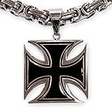 Fly Style Damen Herren Ketten-Anhänger Edelstahl Eisernes Kreuz schwarz silber verschiedene Größen pdst037
