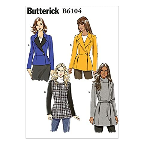 Butterick Patterns 6104 40–45, 7 Tailles F5 Patron de veste avec ceinture pour femme